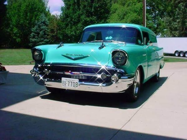 Front of green Chevy Sedna, 1957 model car for sale in Australia
