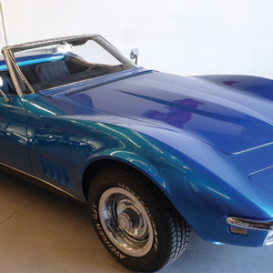 Blue convertible 1968 corvette stingray parked in Brisbane car dealership